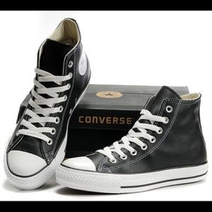 All Star Converse Black Leather Hi Top Sneakers